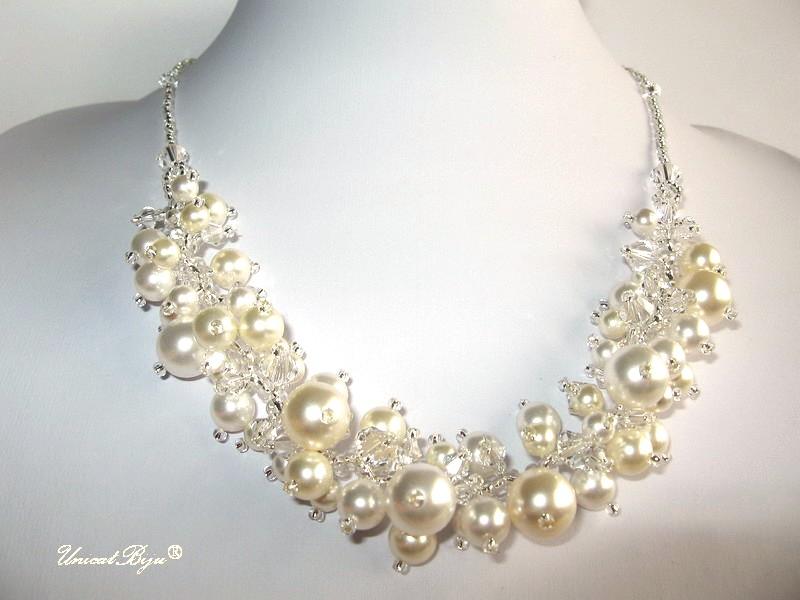 colier mireasa, perle swarovski, unicatbiju