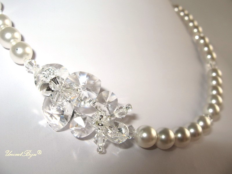 colier perle mireasa, colier cristale swarovski, bijuterii mireasa flori