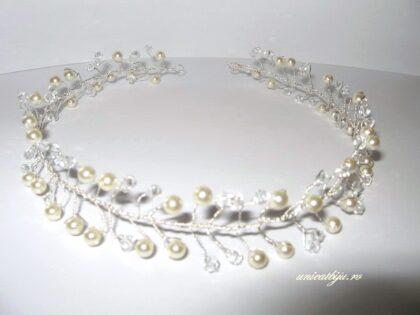 "Diadema ""White Pearls"", Swarovski Elements"