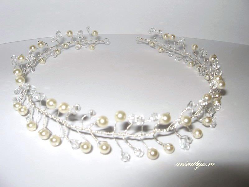 diadema perle albe mireasa, accesorii mireasa swarovski, unicatbiju