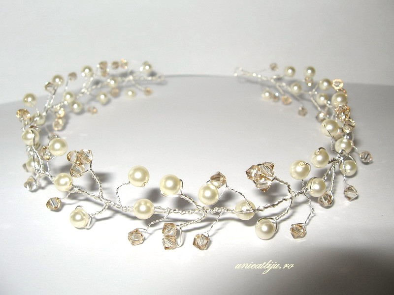 diadema perle swarovski, accesorii mireasa, unicatbiju
