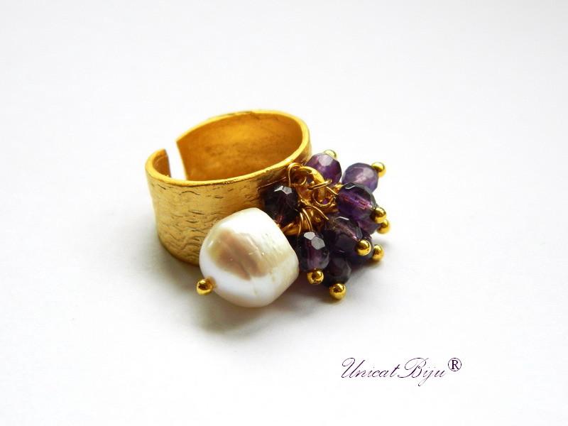 inel ametist, inel perle, bijuterii semipretioase, unicatbiju