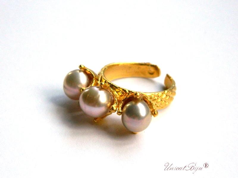 inel aurit masiv, perle naturale roz, unicatbiju