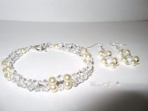 "Bijuterii set ""White Pearls"", Swarovski Elements"