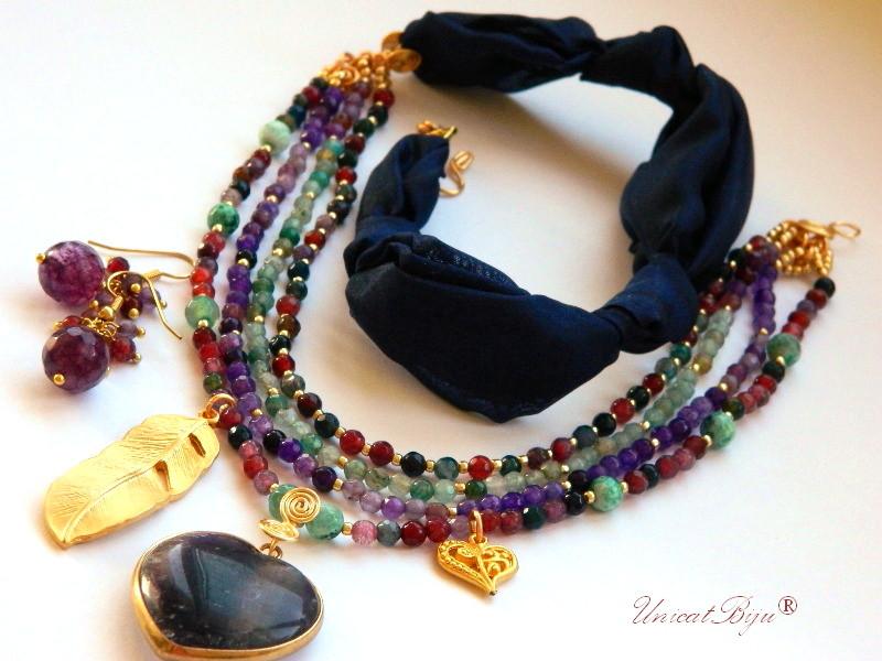 bijuterii matase naturala, flourite masiv, agat, aurit, mov, bleumarine, unicatbiju