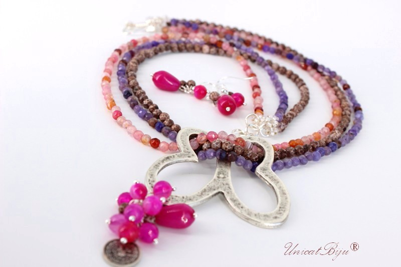 bijuterii semipretioase, agat, jad, multicolor, fluture, unicatbiju