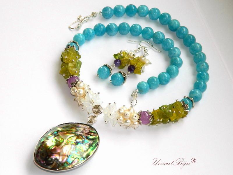 bijuterii semipretioase, colier paua shell, apatit, colier perle, jad lime, cristale swarovski, white opal, unicatbiju