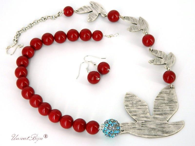 bijuterii semipretioase, coral, perle Mallorca, cristale Swarovski, argintat, rosu, unicatbiju