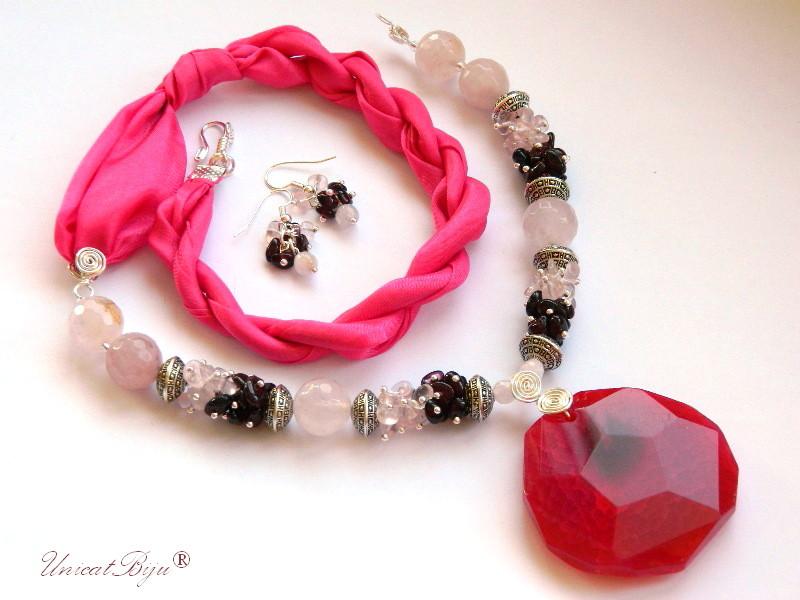 bijuterii semipretioase, cuart roz, granat, agat, bijuterii matase naturala, roz, grena, unicatbiju