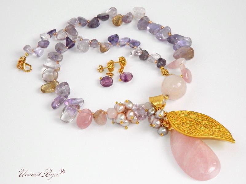 bijuterii semipretioase mov, colier cuart roz, colier ametist, ametrin, unicatbiju