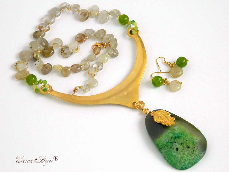 bijuterii semipretioase verzi, colier cuart rutilat, pandantiv agat verde, accesorii aurite, unicatbiju