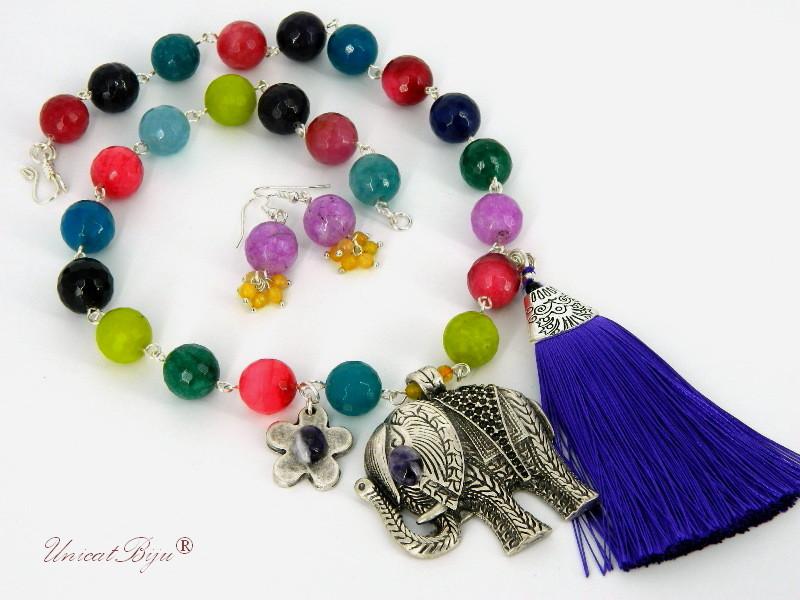 bijuterii set colier cercei, semipretioase, agat. ametist, elefant, multicolor, unicatbiju