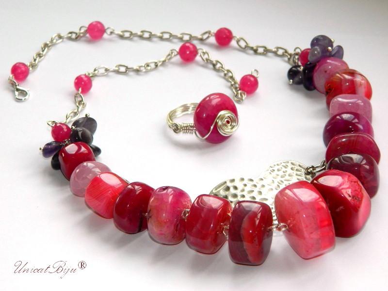 colier agat masiv, bijuterii semipretioase, inel agat roz, unicatbiju, lant argintat zamac