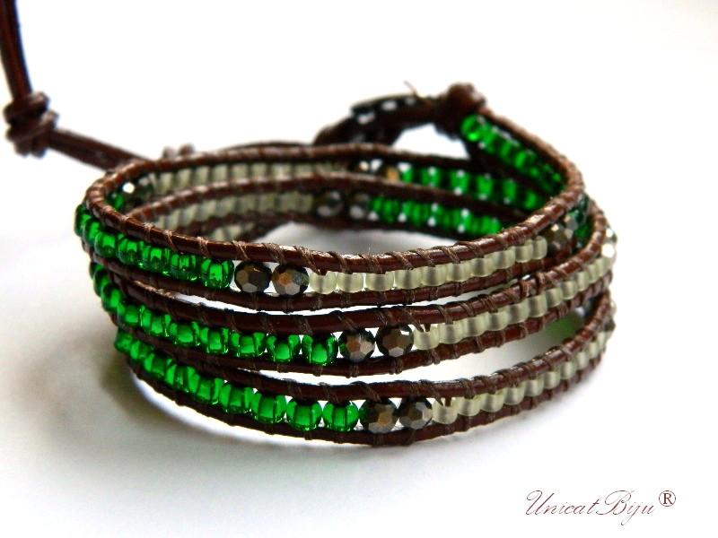 bratara wrap piele naturala 3 randuri, verde, bronz, smarald, unicatbiju