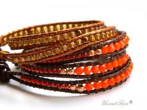 bratari wrap piele naturala set, maro, aurit, bronz, orange, metalizat, bijuterii estivale, unicatbiju
