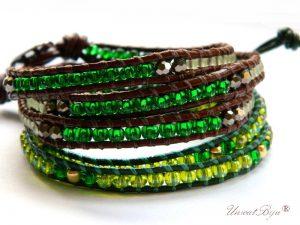 bratari wrap piele naturala set, verde, smarald, bronz metalizat, bijuterii estivale, unicatbiju