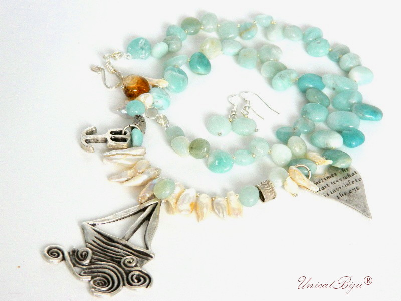 colier amazonit, perle mari, sidef natural, bleu, bijuterii marine, inima, micul print, unicatbiju, ametrin