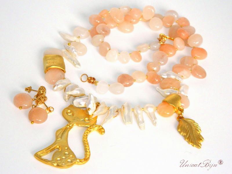 colier perle mari, agat, aurit, sidef natural, semipretioase, colier pisica, unicatbiju