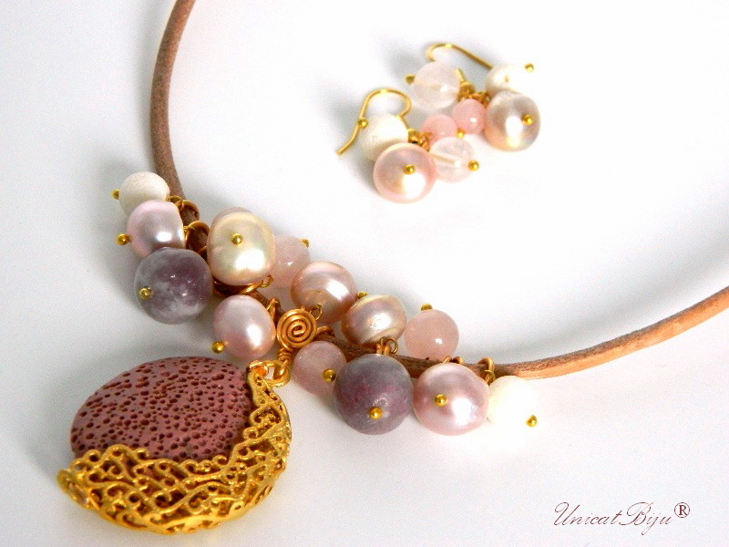 colier piele naturala, perle, lava, cuart roz, aurit, semipretioase, unicatbiju