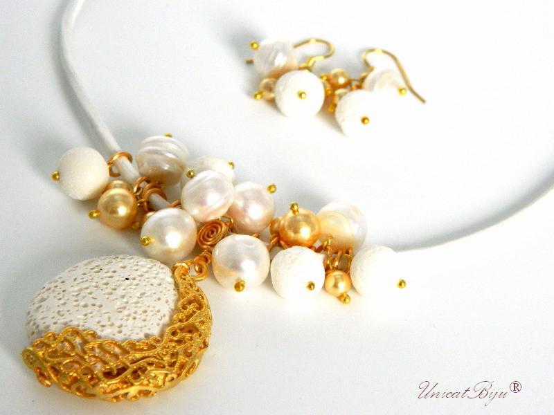 colier piele naturala, semipretioase, lava, coral, perle, sidef natural, aurit, alb, unicatbiju