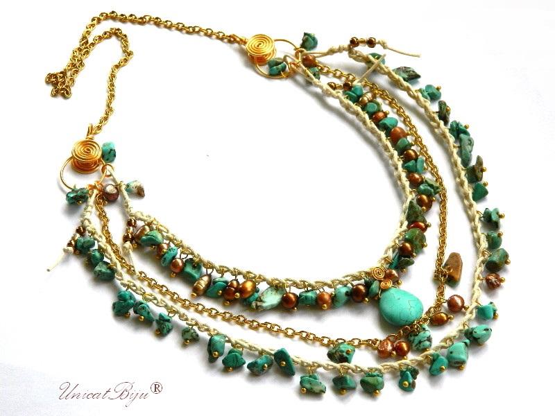colier bumbac natural, turcoaz, perle, margele nuca de cocos, bijuterii vara, bijuterii semipretioase unicat, turcoaz, unicatbiju