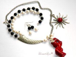 colier, cercei semipretioase, colier coral rosu, onix, perle swarovski, lant argintat, bijuterii statement, unicatbiju