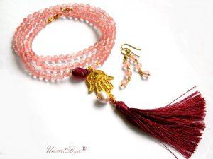 colier lung, bijuterii semipretioase unicat, cuart roz, agat, cristal swarovski, ciucure matase naturala oriental, unicatbiju, cercei