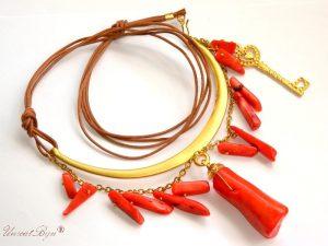 colier piele naturala, colier coral orange, bijuterii statement , aurit, semipretioase, unicatbiju