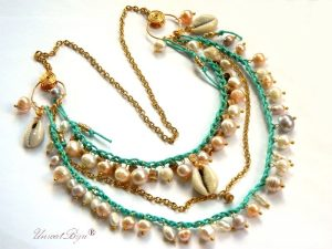 colier snur bumbac natural, bijuterii semipretioase unicat, perle apa dulce, sidef, scoici naturale, unicatbiju