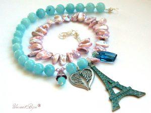 colier angelit, bijuterii perle naturale, sidef roz mov, accesorii verdigris, bijuterii semipretioase, unicat, cristale swarovski, perle biwa, unicatbiju