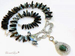 colier perle naturale, perle biwa gri curcubeu, bijuterii semipretioase, ochi de soim, agat, colier statement argintat, cristale swarovski, unicatbiju