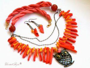 colier statement, bijuterii semipretioase, unicat, bronz, bufnita, coral masiv portocaliu, tepi coral, bijuterii matase naturala, unicatbiju