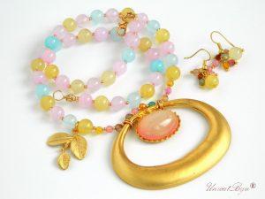 bijuterii-agat-colier-semipretioase-pastel-accesorii-aurite-unicatbiju