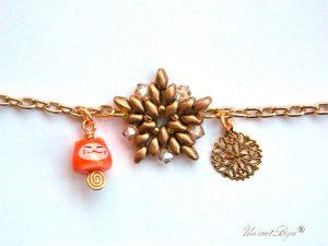 bratara-craciun-portocaliu-ceramica-pictata-fulg-aurit-steluta-margele-unicatbiju