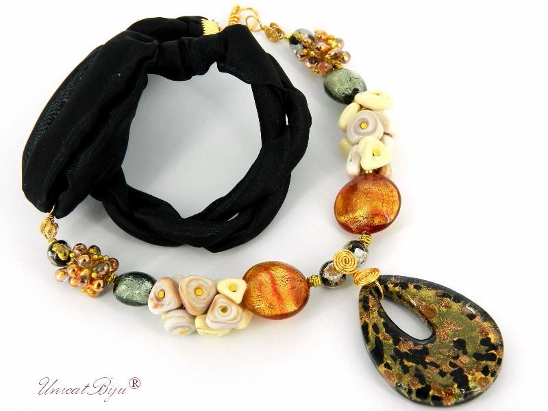 colier-matase-naturala-perle-murano-foita-aur-pandantiv-murano-negru-perle-cultura-unicatbiju