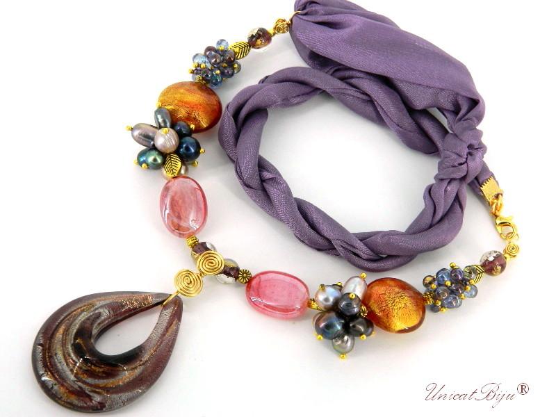 colier-perle-murano-foita-aur-argint-bijuterii-matase-naturala-mov-unicatbiju-cadou-martisor