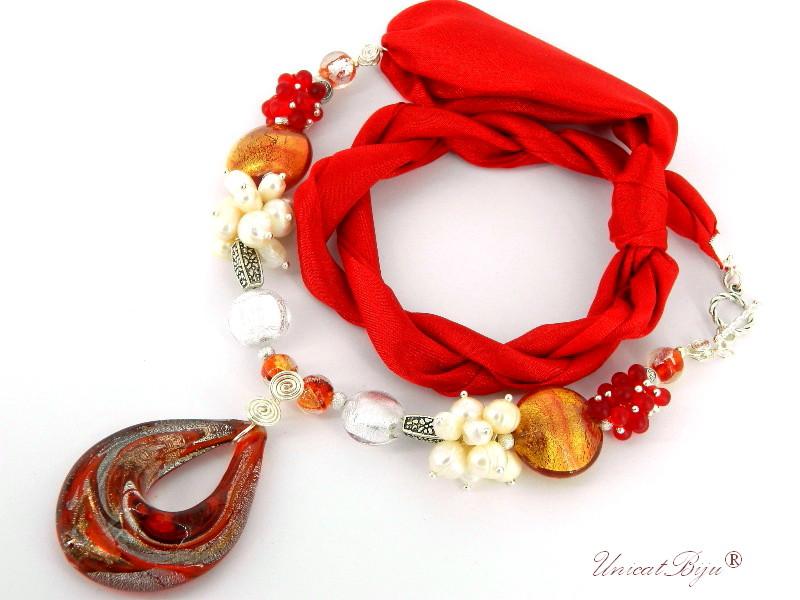 colier-perle-murano-foita-aur-argint-bijuterii-matase-naturala-rosu-alb-unicatbiju-cadou-martisor