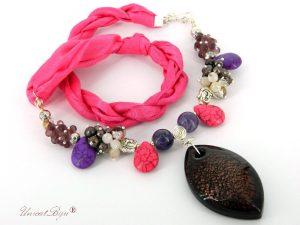 colier-perle-murano-bijuterii-matase-naturala-statement-argintat-magnezit-roz-mov-unicatbiju
