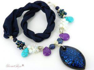 colier-perle-murano-bijuterii-matase-naturala-statement-argintat-turcoaz-magnezit-mov-unicatbiju