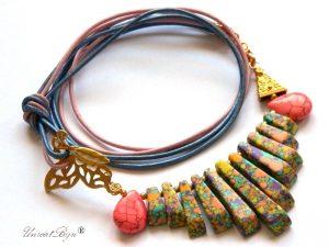 colier-piele-naturala-orange-bijuterii-semipretioase-unicat-magnezit-multicolor-unicatbiju-aurit