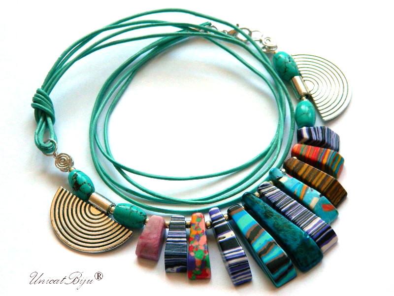 colier-piele-naturala-turcoaz-bijuterii-semipretioase-unicat-magnezit-multicolor-unicatbiju-argintat