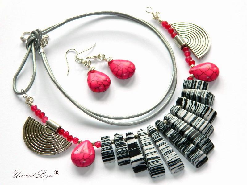 bijuterii-semipretioase-unicat-statement-magnezit-multicolor-piele-naturala-agat-roz-unicatbiju