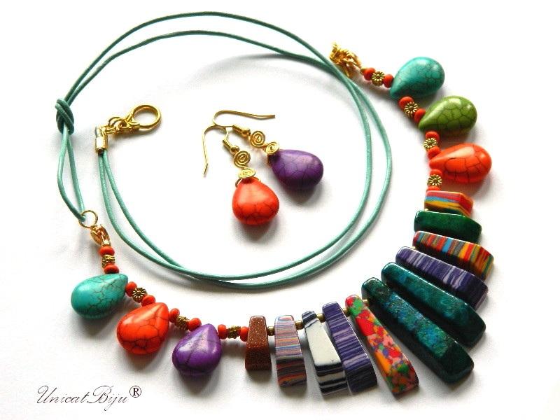 bijuterii-semipretioase-unicat-statement-magnezit-multicolor-piele-naturala-turcoaz-coral-orange-unicatbiju