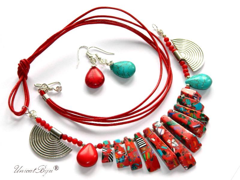 bijuterii-semipretioase-unicat-statement-magnezit-multicolor-piele-naturala-turcoaz-coral-rosu-unicatbiju