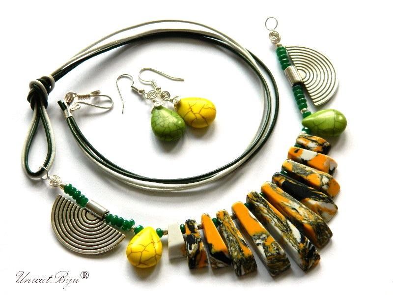 bijuterii-semipretioase-unicat-statement-magnezit-multicolor-piele-naturala-turcoaz-galben-unicatbiju