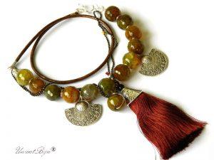 colier-piele-naturala-bronz-bijuterii-semipretioase-agat-masiv-olive-ciucure-matase-naturala-unicatbiju-statement