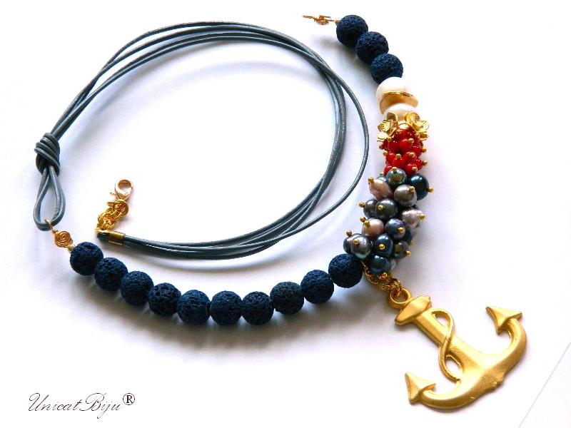 colier-piele-naturala-lava-poros-albastru-perle-sidef-natural-coral-ancora-aurita-bijuterii-semipretioase-unicat-statment-unicatbiju-stil-navy
