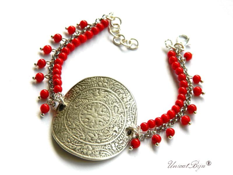 bratara-semipretioase-unicat-coral-rosu-masiv-argintat-egiptean-statement-unicatbiju
