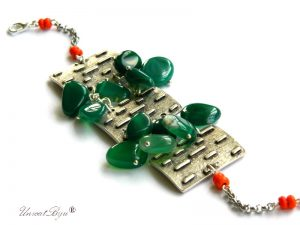 bratara-statement-semipretioase-agat-verde-coral-orange-unicatbiju-bijuterii-unicat-argintat-masiv