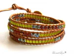 bratara-wrap-piele-naturala-aurit-toho-metalizat-perle-verde-mojito-bijuterii-vara-unicatbiju